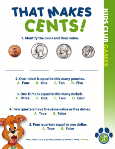 Kids Club Games- Coin value